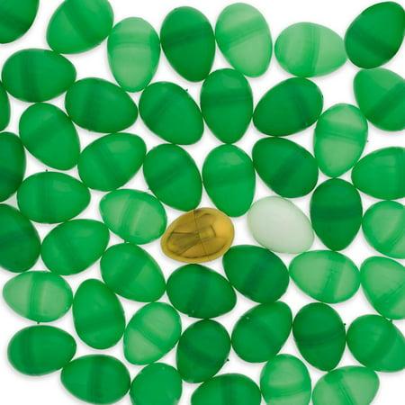 Set of 46 Green Plastic Eggs + 1 White Egg + 1 Golden Easter Egg (Gold Eggs)