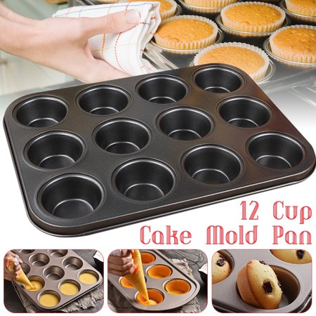 12 Nonstick Carbon Steel Grid Cake Mold Pan Muffin Cupcake Bakeware Oven Tray Mould Bakery Kitchen Tool - Cupcake Tray