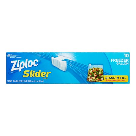 Ziploc Slider Freezer Bags  Gallon  10 Ct