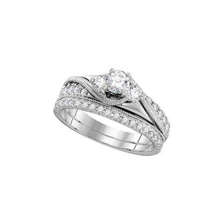 14kt White Gold Womens Round Diamond 3-Stone Bridal Wedding Engagement Ring Band Set 7/8 Cttw - image 1 de 1
