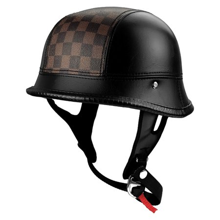 Half Motorcycle Helmet German Style Leather With Checker Stripe