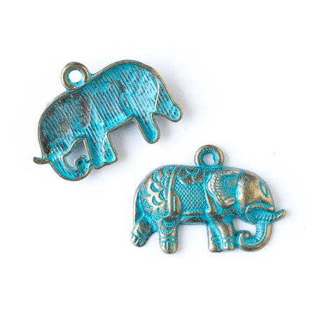 Cherry Blossom Beads 21x27mm Green Bronze Colored Pewter Indian Elephant Charm - 10 per - Elephant Beads