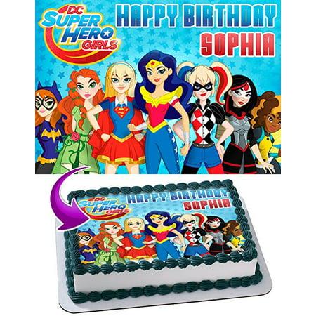 Stupendous Dc Super Hero Girls Edible Cake Topper Personalized 1 2 Size Sheet Funny Birthday Cards Online Necthendildamsfinfo