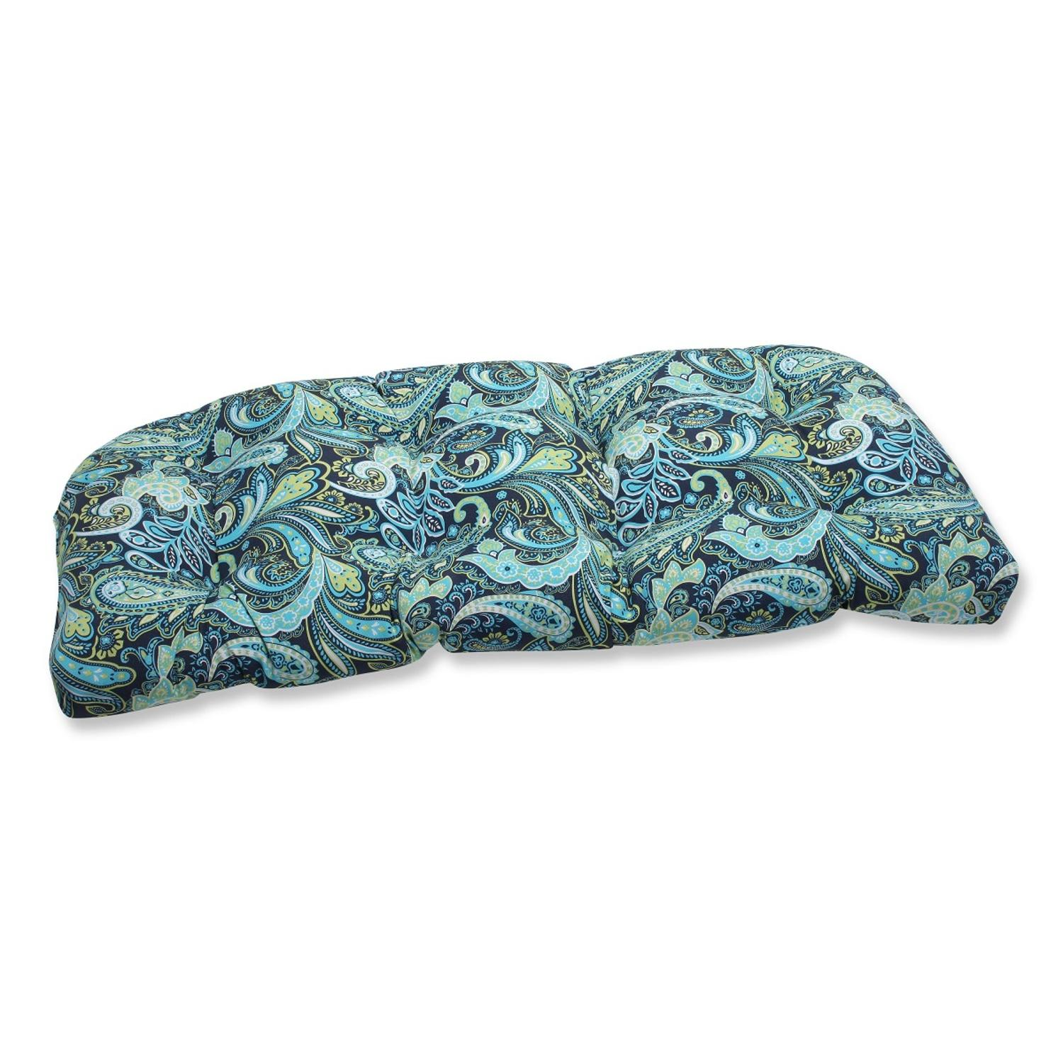 "44"" Sogno Paisley Blue, Green and White Outdoor Patio Tufted Wicker Loveseat Cushion"