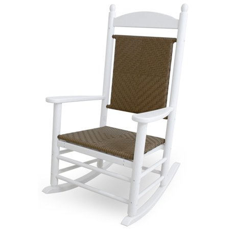 Polywood Jefferson Rocking Chair - POLYWOOD® Jefferson Recycled Plastic Rocking Chair with Woven Seat and Back