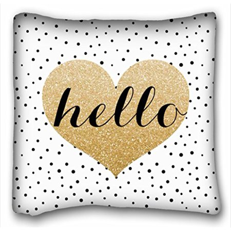 WinHome Gold Hello Heart Black White Dalmatian Dots Custom Pillowcase Soft Zippered Pillow Cushion Case Throw Pillow Covers Size 20x20 inches Two Side Print