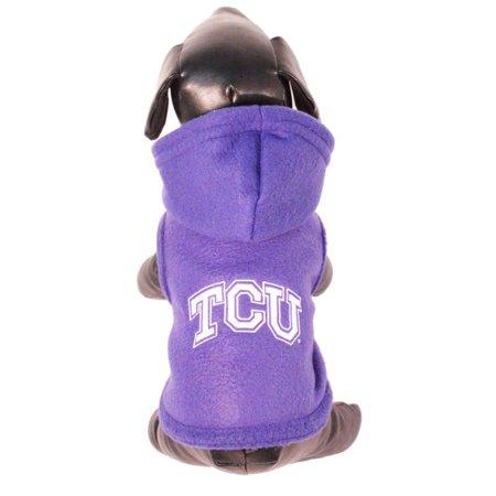 NCAA TCU Horned Frogs Polar Fleece Hooded Dog Jacket (Hooded Polar Dog Fleece)