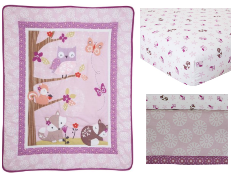 lambs u0026 ivy bedtime originals lavender woods 3 piece crib bedding set