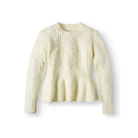 Pearl Peplum Cable Pullover Sweater (Big Girls) (Girls Sweaters Pullover)
