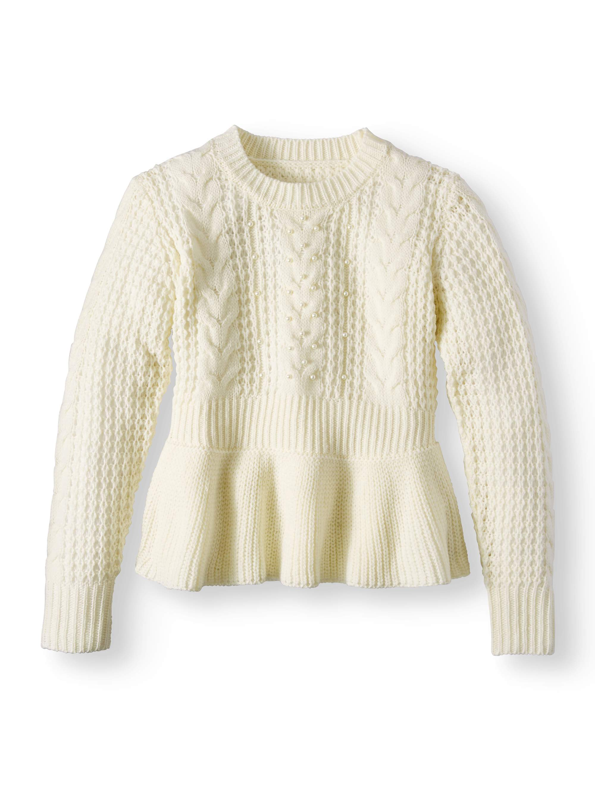 Pearl Peplum Cable Pullover Sweater (Big Girls)