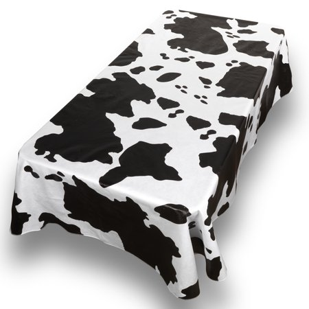 Cow Print Table Covers (Moo Cow Print Premum Quality Vinyl Flannel Back Oblong Tablecloth 52