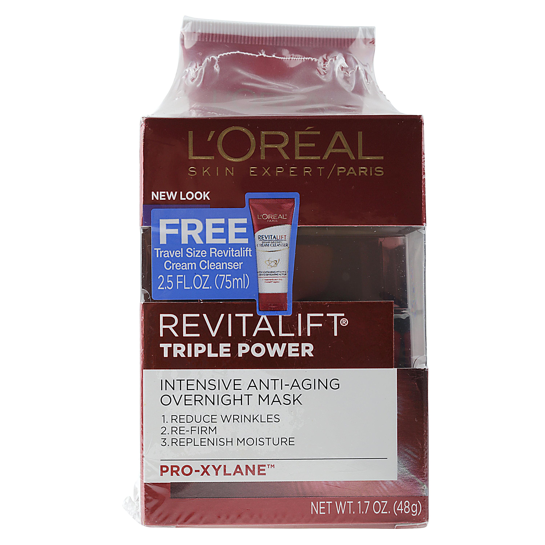 L'Oreal Paris Revitalift Triple Power Intensive Overnight Mask 1.7oz plus Bonus Revitalift Cream Cleanser