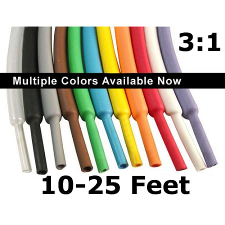 "3:1 Heat Shrink Tubing Polyolefin-10-25 Feet Spools- 1/16"" to 1.5"" - Electriduct"