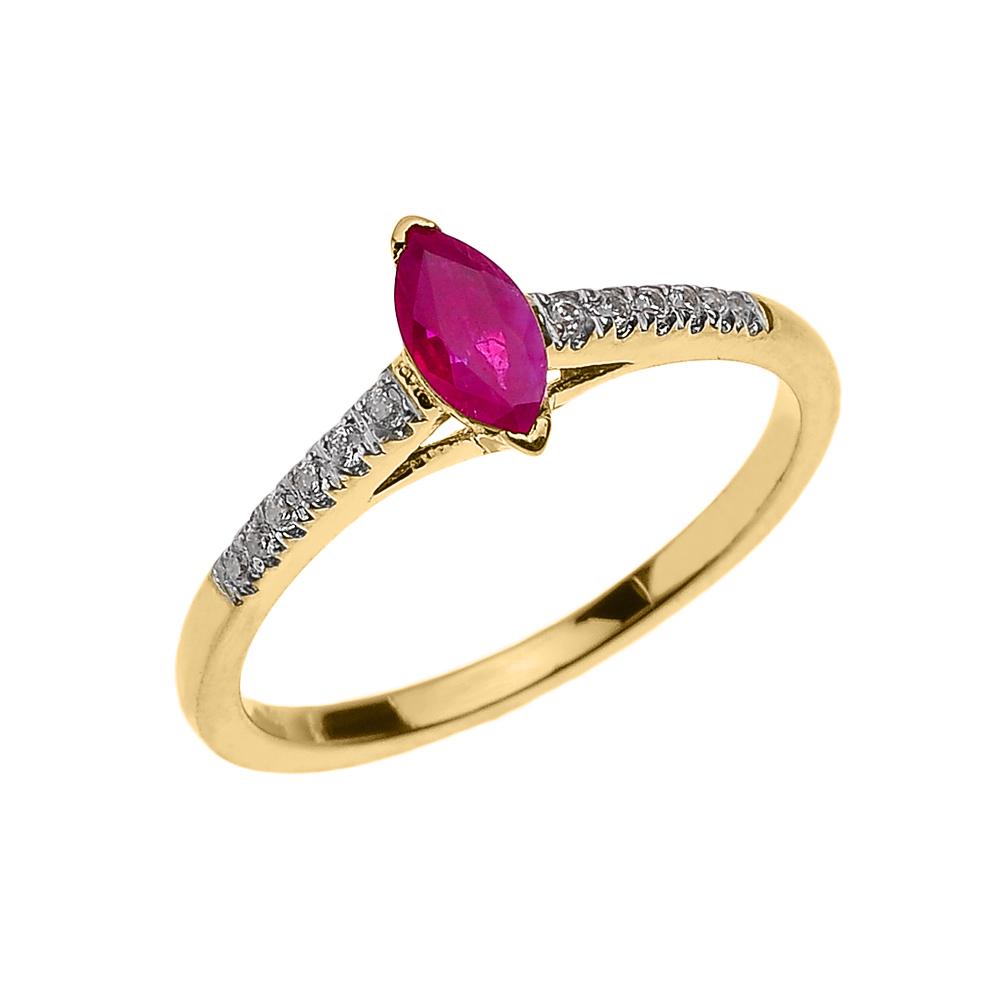 Yellow Gold Ruby and Diamond Modern Engagement Ring by