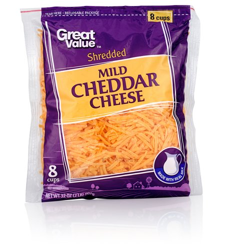 Great Value Mild Shredded Cheddar Cheese, 32 oz