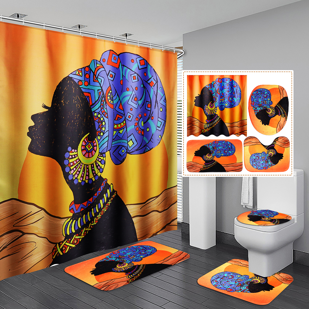 4Pcs//Set African Baotou Woman room Shower Curtain Toilet Cover Mat Rug