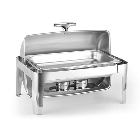 Round Chafer (Ktaxon 9.5 Quart Stainless Steel Heavyweight Chafing, Full-size Rectangular Chafer Dish, Round Roll-top, w/ Food Pan, Water Pan, Alcohol Furnace and Lid)