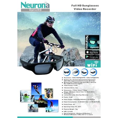 Neurona Optic HD 1080P Smart WiFi Video Recording Eyewear (1080p Sunglasses)