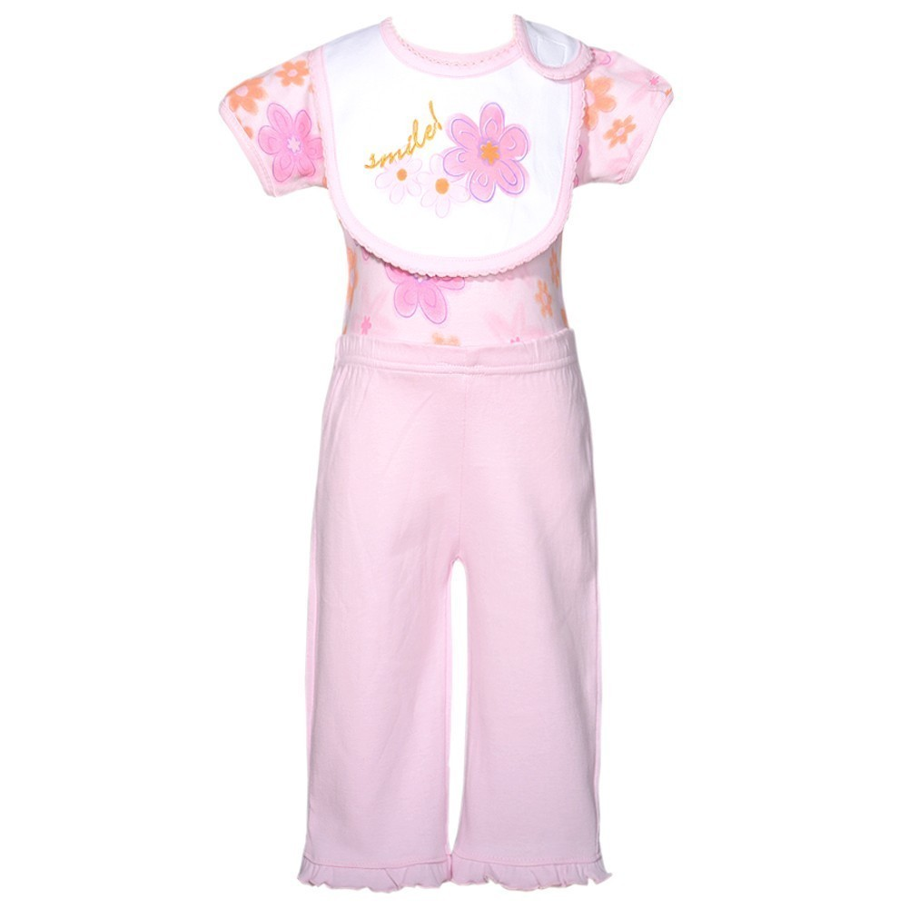 Mon Cheri Pink Flower Smile Motif 3 Pc Layette Bib Set Baby Girl 0-3M by Consolidated Clothiers