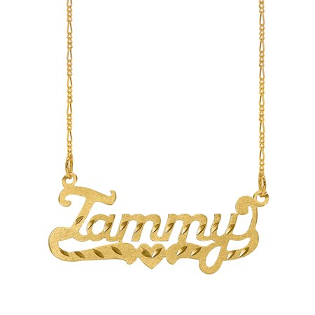Personalized Sterling Silver, Gold Plated, 10k or 14k Diamond Cut Nameplate Necklace with an 18 inch Silver Plated Figaro Chain (Gold Optischen)