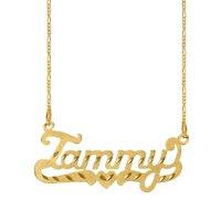 Personalized Sterling Silver, Gold Plated, 10k or 14k Diamond Cut Nameplate Necklace with an 18 inch Silver Plated Figaro Chain
