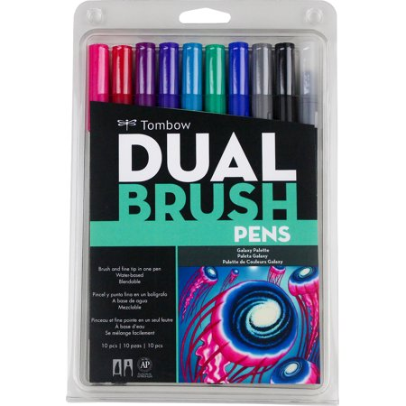 Tombow Dual Brush Assorted Galaxy Brush Pen Set, 10 -