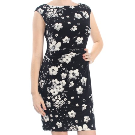 RALPH LAUREN Womens Ivory Gathered Floral Sleeveless Jewel Neck Above The Knee Formal Dress Petites  Size: - Ivory Gathered