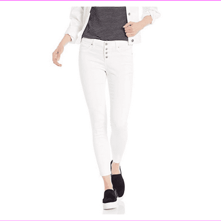 Jessica Simpson Women's Kiss Me Vintage Button Fly Ankle Skinny Jeans, White, 30 Button Fly Suit