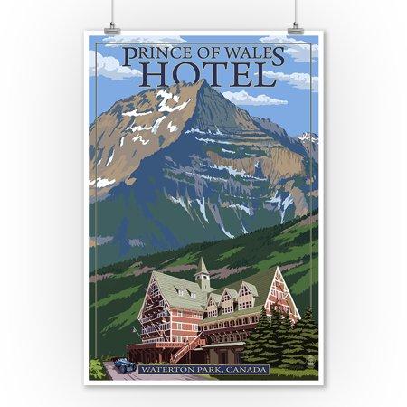 Waterton Lakes National Park, Canada - Prince of Wales Hotel - Lantern Press Artwork (9x12 Art Print, Wall Decor Travel - Canadian National Hotels
