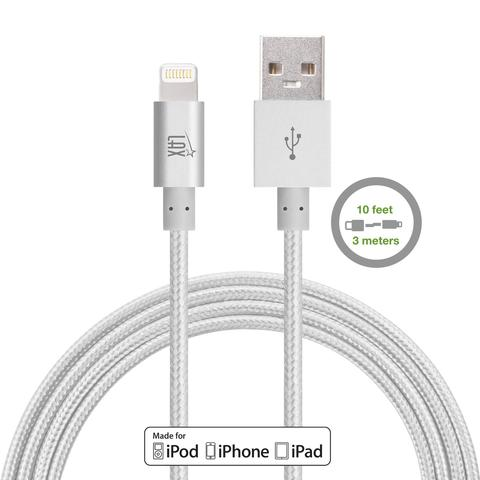 LAX 10ft Long Apple MFi Certified iPhone Charger Cable - Durable Braided Lightning Cord for iPhone 6s / 6s Plus / 6 / 6 Plus / 5s / 5c / 5 / iPad Air 2 / Air / Mini 4 / 3 / 2 / Pro