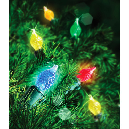 Hoilday Time 60-Count LED C4 Teardrop Christmas Lights, Multi ...