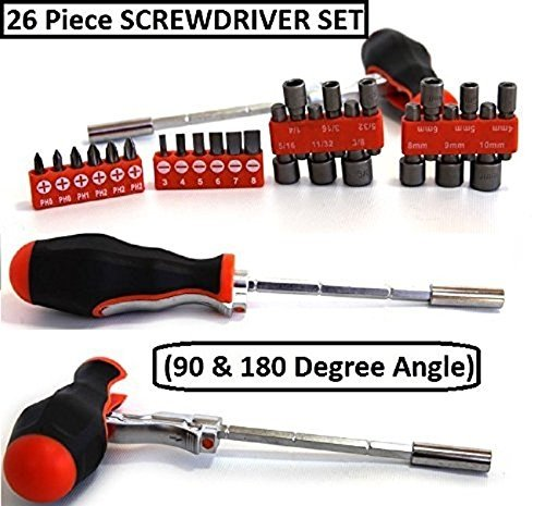 Multi Angle Screw Driver - 26 Piece Ratchet Driver, Bit And Socket Set (90 & 180 Degree Angle) – For Homeowner, Mechanic, Plumbers, Professionals, Handyman – By Katzco