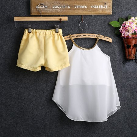 White Baby Kids Girl Chiffon Woven Strap Tops Shirt Hot Pants 2PCS Outfits 2-11Y