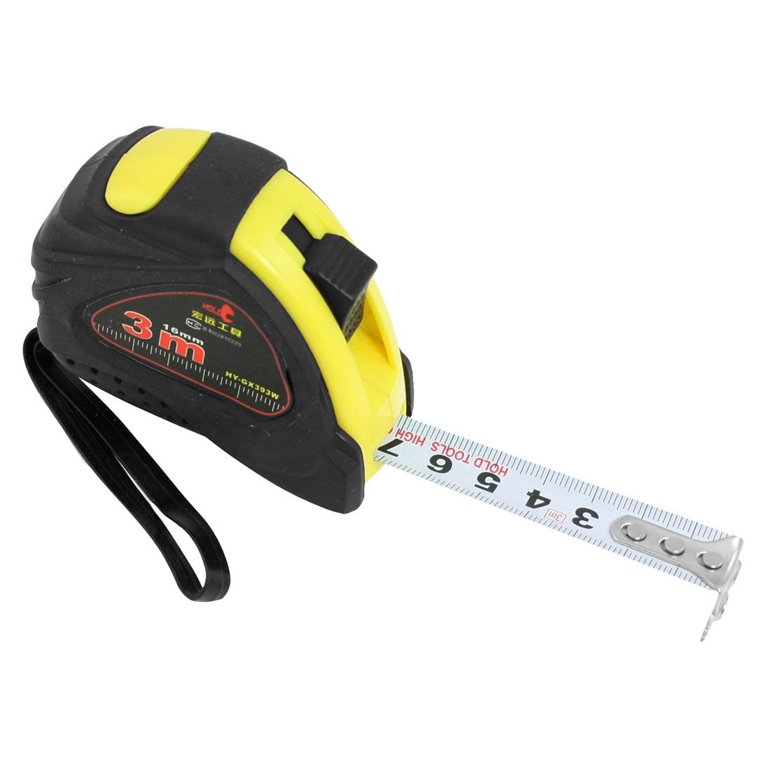 "Unique Bargains 5/8"" x 3 Meters Self Retract Flexible Tape Measure Ruler Black Yellow"