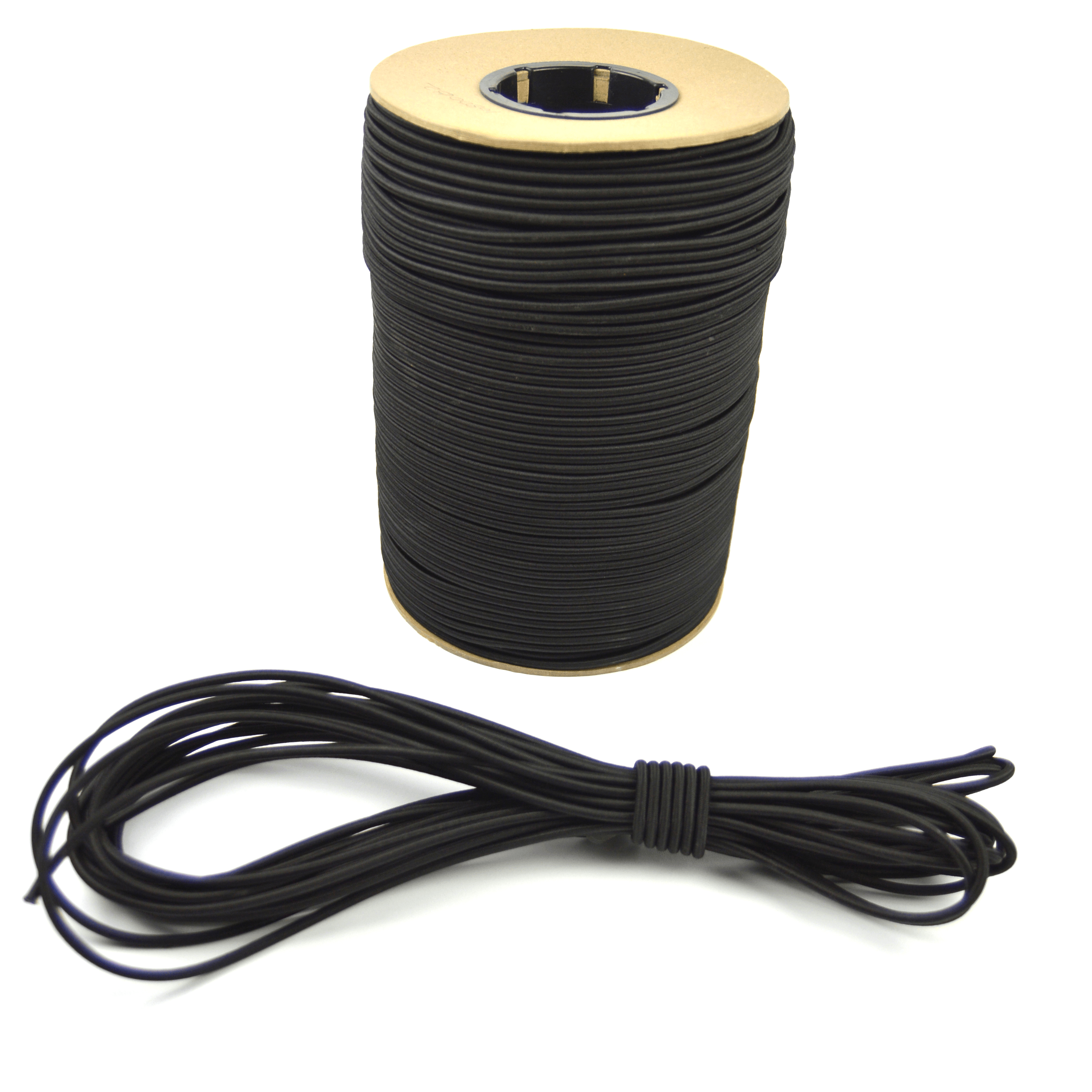 """50ft of Marine Masters 3/16"""" Black Bungee Shock Cord - Elastic Stretch Rope"""