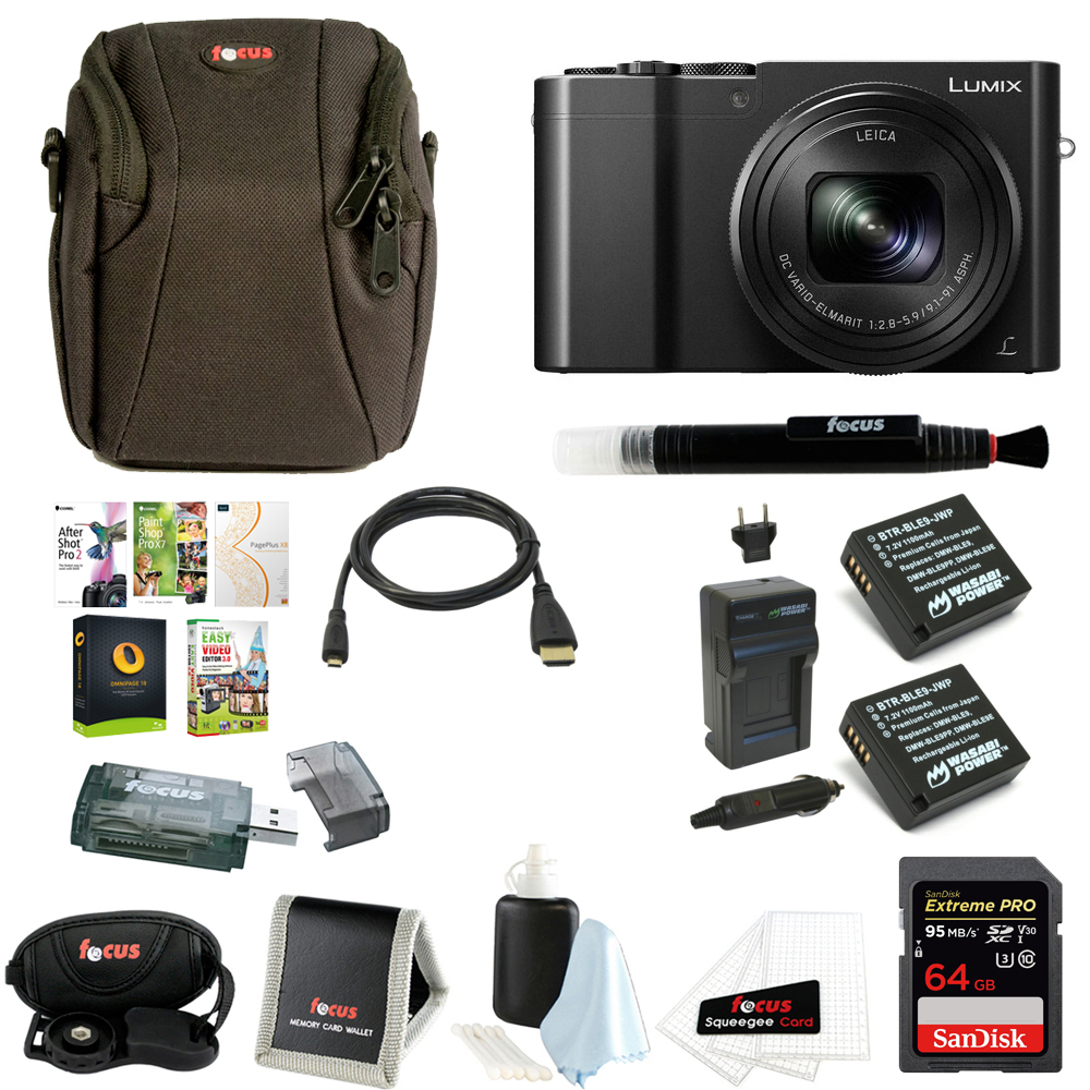 Panasonic Lumix DMC-ZS100 Digital Camera with 64GB SD Card and Battery Bundle
