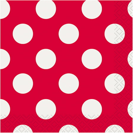 Polka Dot Paper Beverage Napkins, Red, 40ct