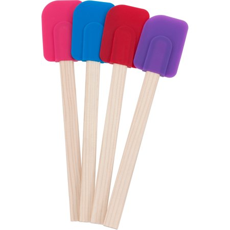 Mainstays Wood Assorted Colors Spatula, 4 Count