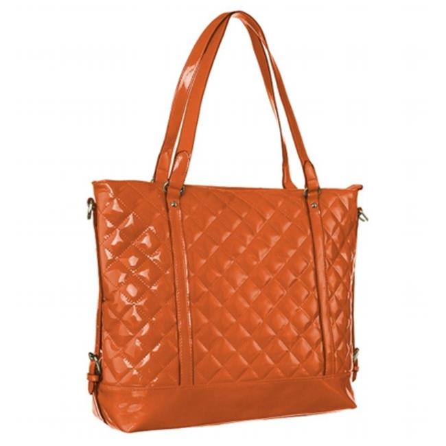 Mad Style 317869 Patent Leather Quilted Candy Tote, Orange