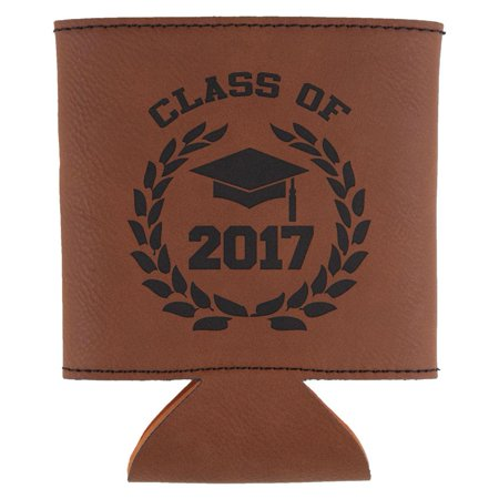 Graduation   Class Of 2017 Laurel Etched Leatherette Can Cooler