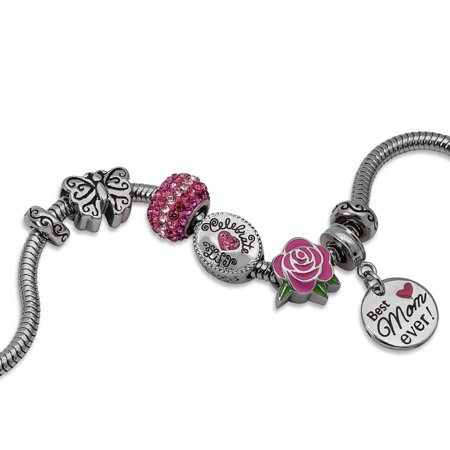 Stainless Steel Limited Edition Best Mom Ever Charm Bracelet