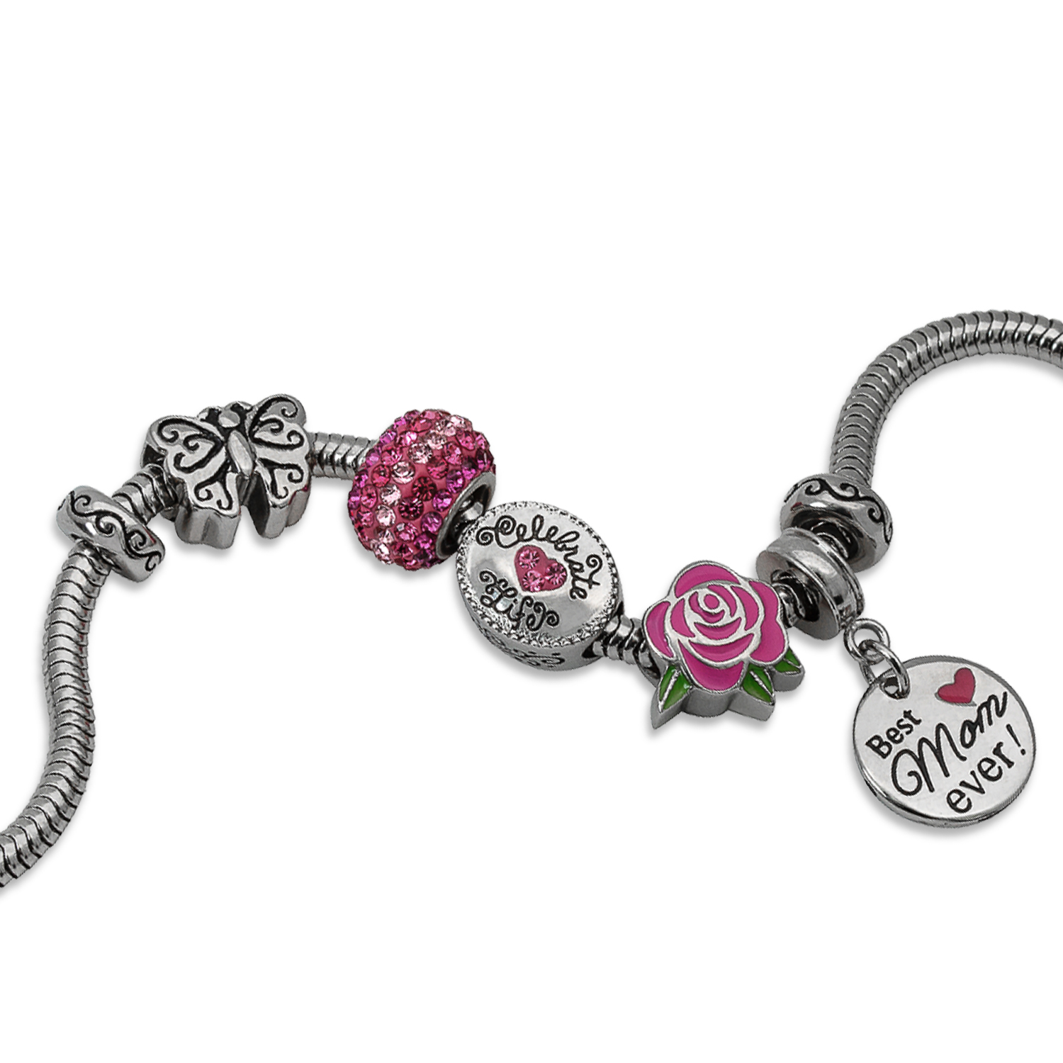 "Connections from Hallmark Stainless Steel Limited Edition ""Best Mom Ever"" Charm Bracelet Set"