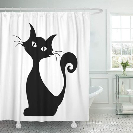 PKNMT White Halloween Black Silhouette of Sitting Cat Graphic Tail Outline Stencil Contour Bathroom Shower Curtain 66x72 - Halloween Cat Stencil Pattern