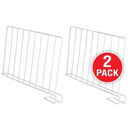 StorageMaid (Pack of 2) Wire Shelf Dividers for Bedroom Closets, Kitchen Cabinets, Wood Shelves, Bookcases and Libraries – Versatile, Multi-Functional Organizers for Home And Office - White (Versatile Shelving)