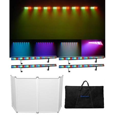 (4) Chauvet COLORSTRIP 4-Channel DMX LED Multi-Color DJ Light Bars + DJ Facade Chauvet Led Color
