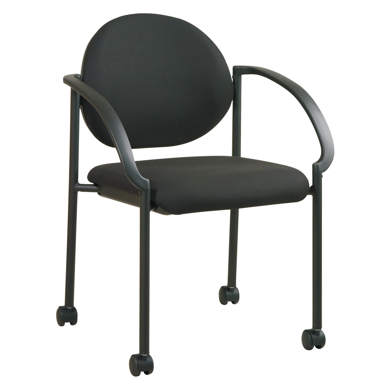 Stack Chairs with Casters and Arms, Black