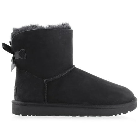 UGG Women's Mini Bailey Bow II Black Boot 10 (Ugg Bailey Bow Back Boot)