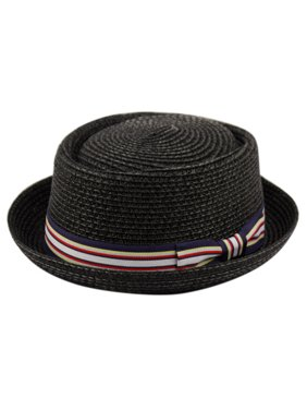 Product Image Men s Summer Lightweight Straw Pork Pie Derby Fedora Upturn Brim  Hat w  Ribbon c3e664d66c8