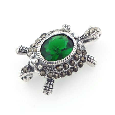 Sterling Silver Marcasite Turtle Green Brooch Pin