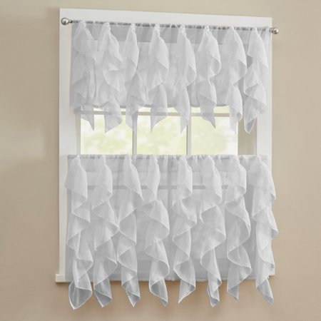 "Sheer Voile Vertical Ruffle Window Kitchen Curtain 36"" Tiers & Valance Set"